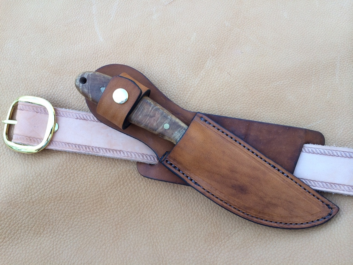 Custom Leather Knife Sheath 8″ Overall 5″ Fixed Blades – Crossdraw